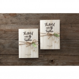Two rectangular invites side by side, wood themed