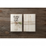 Wooden inspired invitations, front and back view