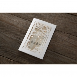 Gold foil accentuated tree inspired wedding invitation