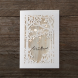 Wood and forest themed die cut invitation folded