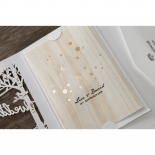 Gold foil designed brown inner paper with wooden inspiration