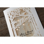 Ivory tree inspired laser cut invite with foil