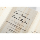 Wood themed bridal card with black classic digitally printed text