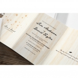 Digitally printed card design wood themed and laser cut
