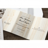 Wood themed invite insert featuring foil and digital printing