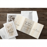 Forest themed white laser cut pocket with three fold brown invitation card