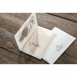 Modern wedding invite design featuring wood theme