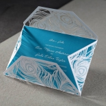 Die cut white sleeve with feather patterns with aqua digitally printed card