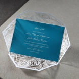 Aqua shimmer flat card attached to a white die cut feather designed wrap