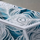 Aqua and white themed modern die cut wrap with feather designs