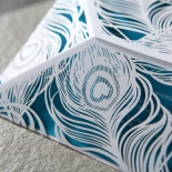 Matte feather designed die cut sleeve with aqua insert