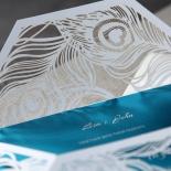 Feather themed invitation sleeve wrap