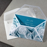 Partially open feather die cut designed invite wrap