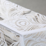 White invitation card wrapped in matching sleeve with peacock design