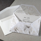 Peacock designed laser cut modern invitation sleeve