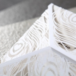 Feather white themed modern invitation sleeve