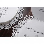 Die cut lace design on round invite