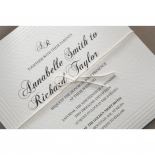 String wrapped ivory card printed with wedding invite wording