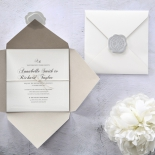 The opened and unopened image of classic ivory square invite featuring ribbon and raised border