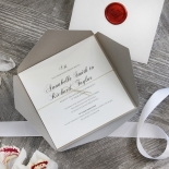 Unique Grey Pocket with Regal Stamp Wedding Card