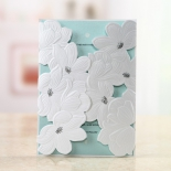 White and blue summer themed pocket invitation for wedding