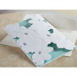 White non glossy flower pocket with soft blue inner card