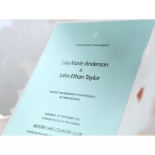 Matte powder blue wedding card with black classic raised text