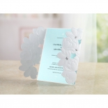 Soft blue card attached to a gate style bridal invite sleeve