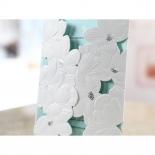 Flower designed white wedding card with soft blue inner layer