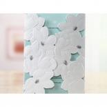 Pocket invitation designed with foil pollen and soft blue insert
