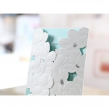 Garden wedding white invitation with flowers and foil