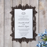 Dark brown vintage themed invite with floral laser cut frame