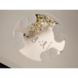Embossed frame of white themed bridal card