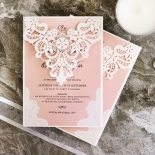 White Lace Drop Wedding Card Design