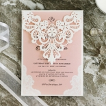 White Lace Drop Stationery invite