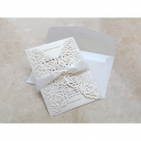 Envelope and matte rose themed sleeve wedding card