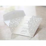 Cream rose themed laser cut bridal invitation
