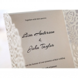 Laser cut wrap with thermography printed cream paper