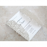 Rose gate designed laser cut classic invitation with embossed ink