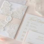 Gold Foil Stamped Floral Laser Cut Elegance - Wedding Invitations - BH1680-F - 178750