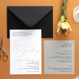 Gold Foil and Black Print Triplex - Wedding Invitations - WP-TP01-GG-01 - 178960