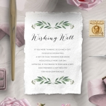 Country Garland wishing well enclosure stationery card